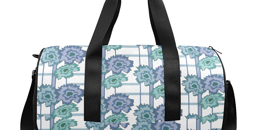 Floral Frenzy - Retro - Blue & Green - Workout/Camping/Travel Duffel Bag