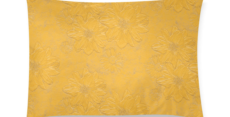 Embossed Floral Yellow - Cushion Cover