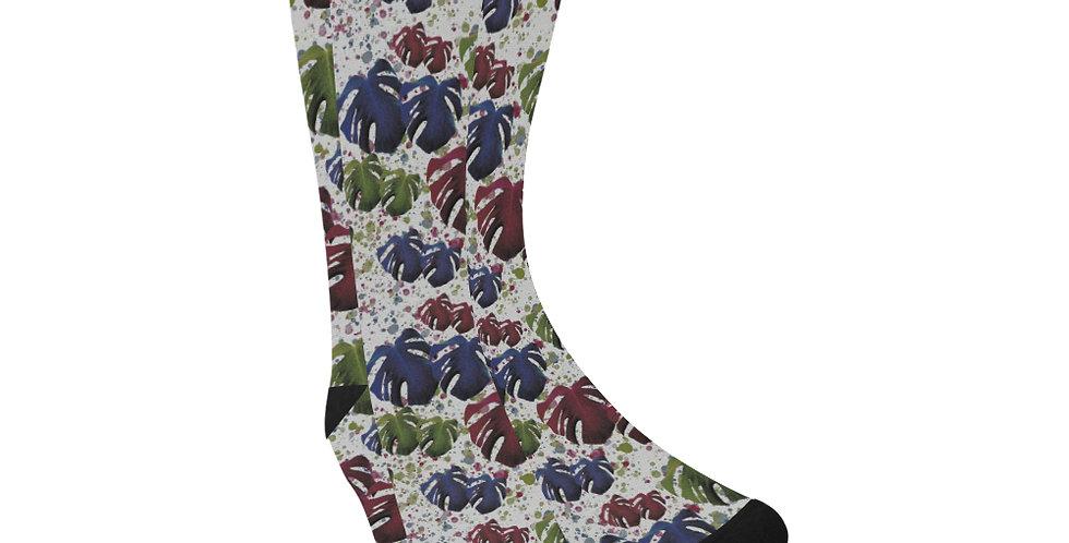 Monstera Red & Blue - Unisex Socks (Made in Australia)