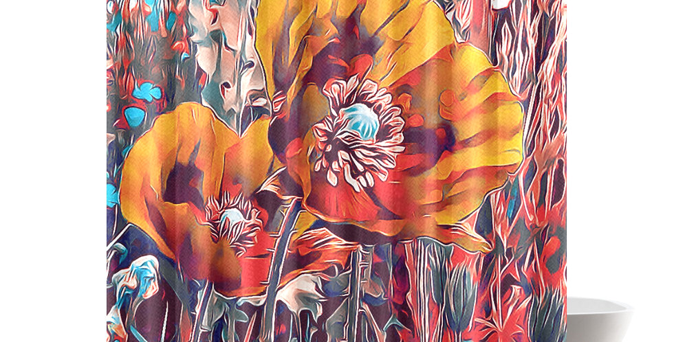 Meadow Poppies Autumn - Shower Curtain