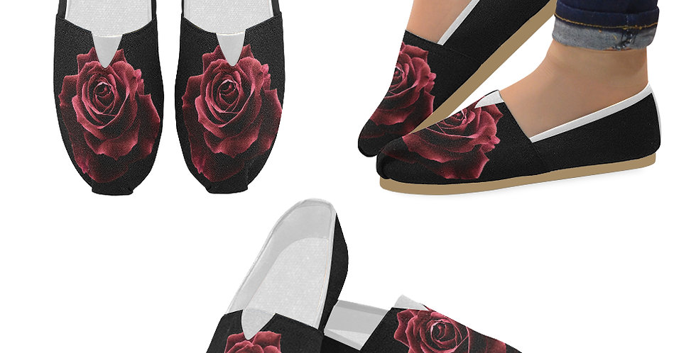 Red Red Rose (black sides) - Slip On Canvas Shoes