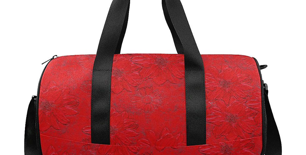 Embossed Floral Red - Gym / Workout / Camping / Travel Duffel Bag