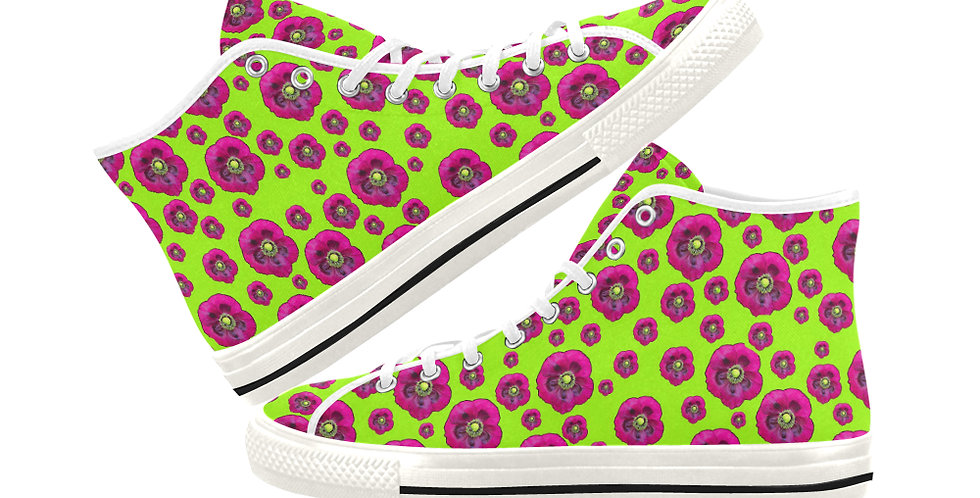 Poppies Lime Green/Purple - Women's High Top Canvas Sneakers