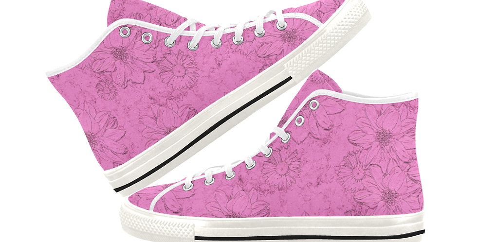 Embossed Floral Soft Pink - Women's High Top Canvas Sneakers