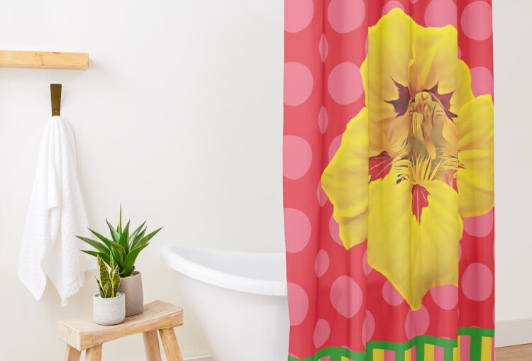 Ladybug Nasturtium - Shower Curtain