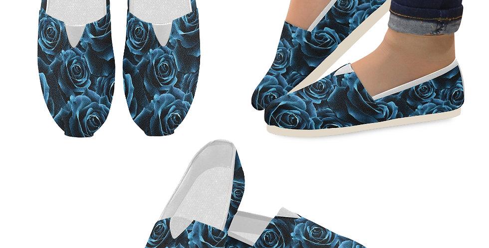 Velvet Roses Blue - Slip On Canvas Shoes