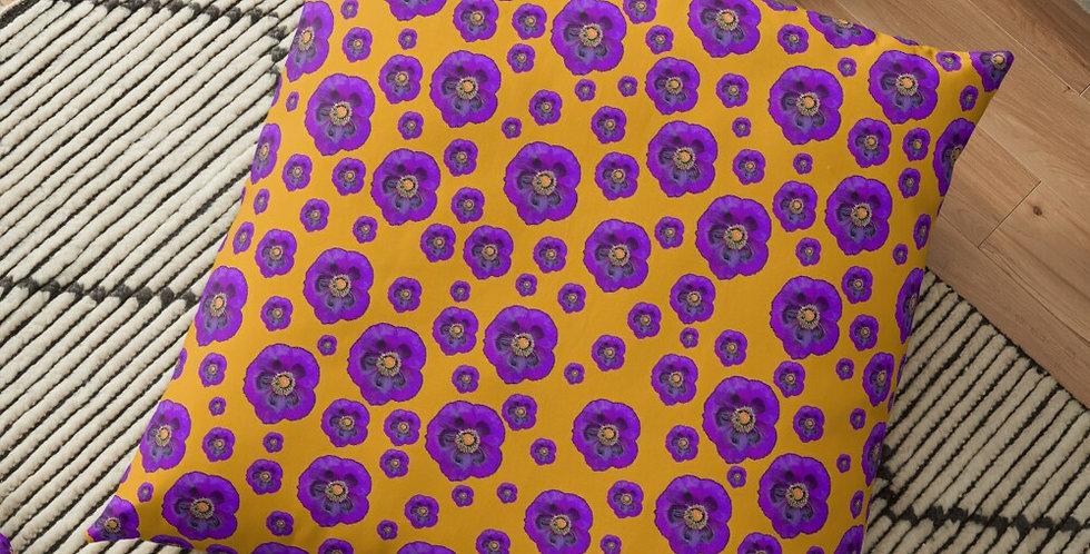 Flower Power - Orange / Purple - Cushion Cover