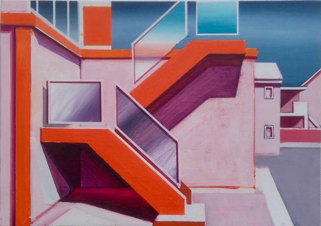 'Orange Stairway' 30x21cm