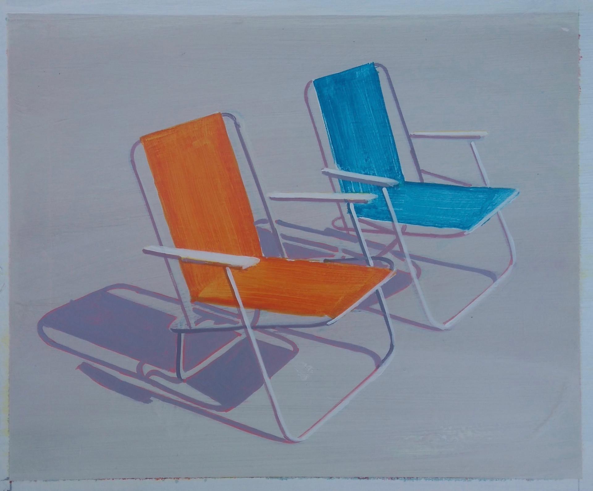 'Deckchairs 4' 30x21cm