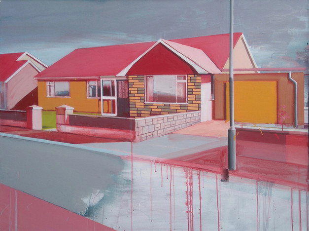 Bungalow with Pink Roof 125x100cm