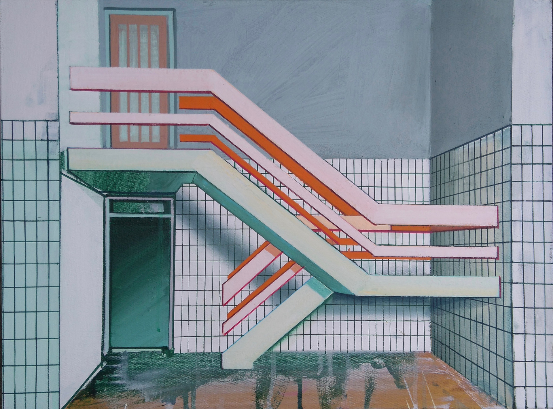 'Green and Pink Stairway' 60x45cm