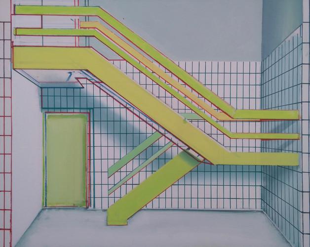 'Green Stairway' 90x75cm