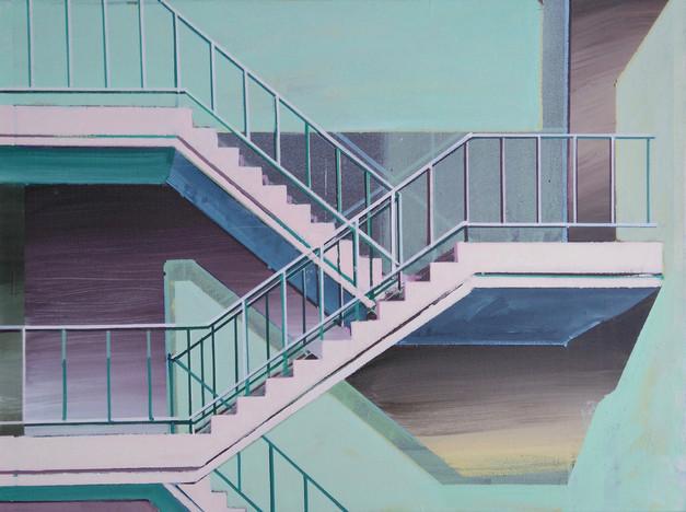 'Pink Stairway' 60x45cm