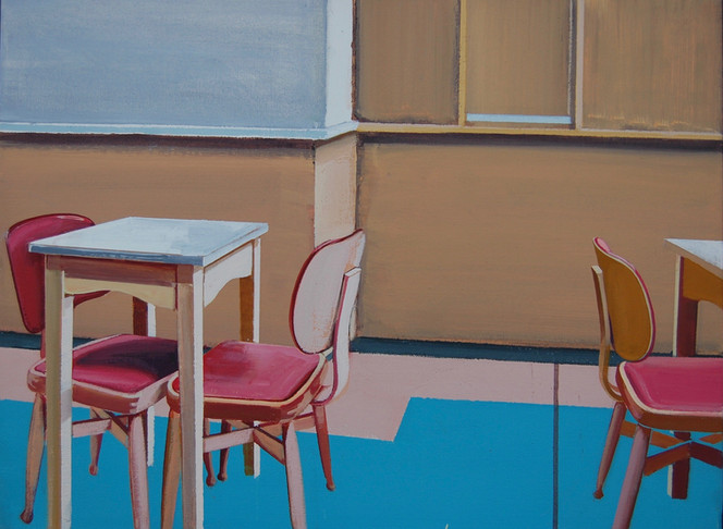Cafe with Pink Chairs 60x45cm