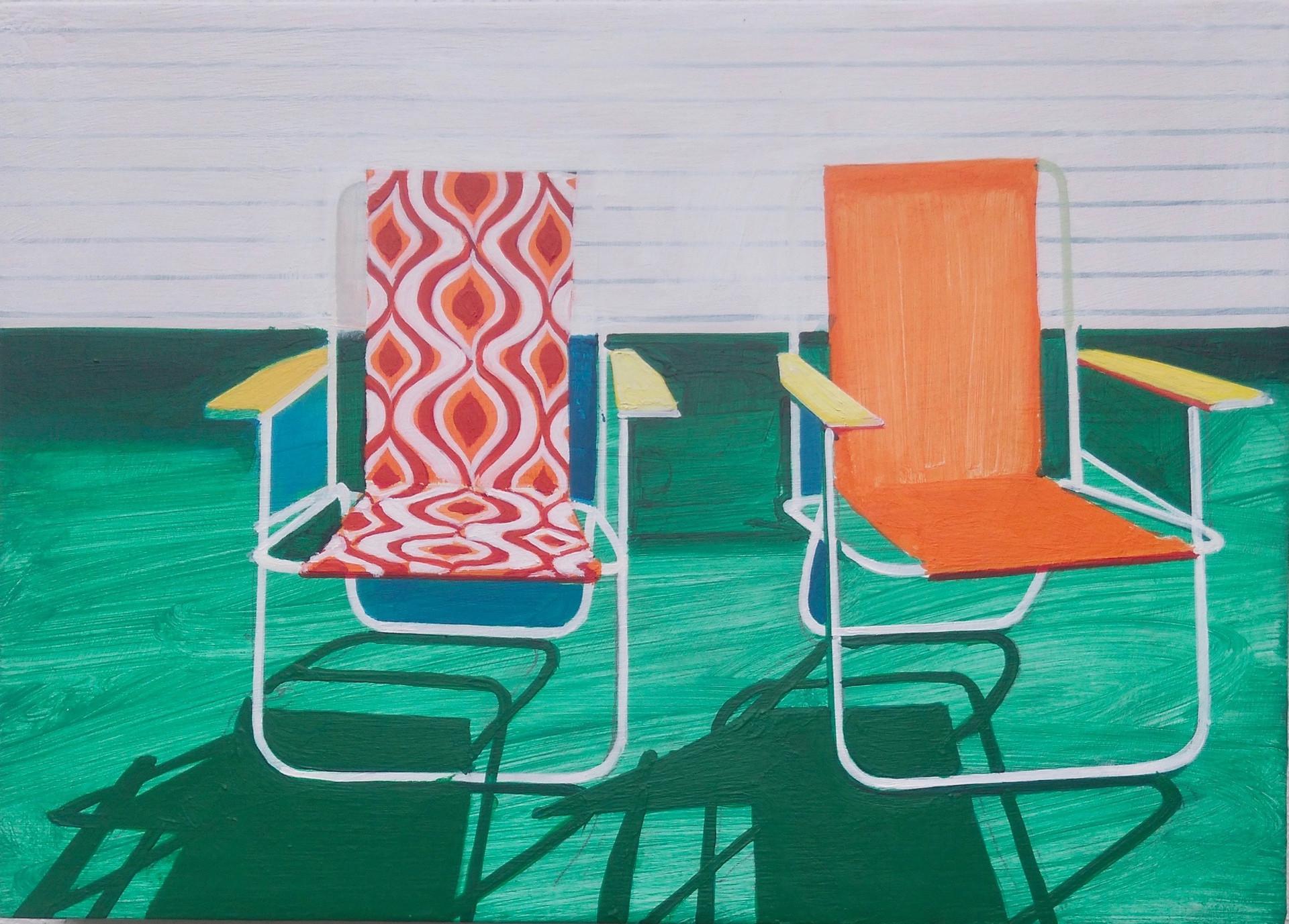 'Deckchairs 2' 30x21cm
