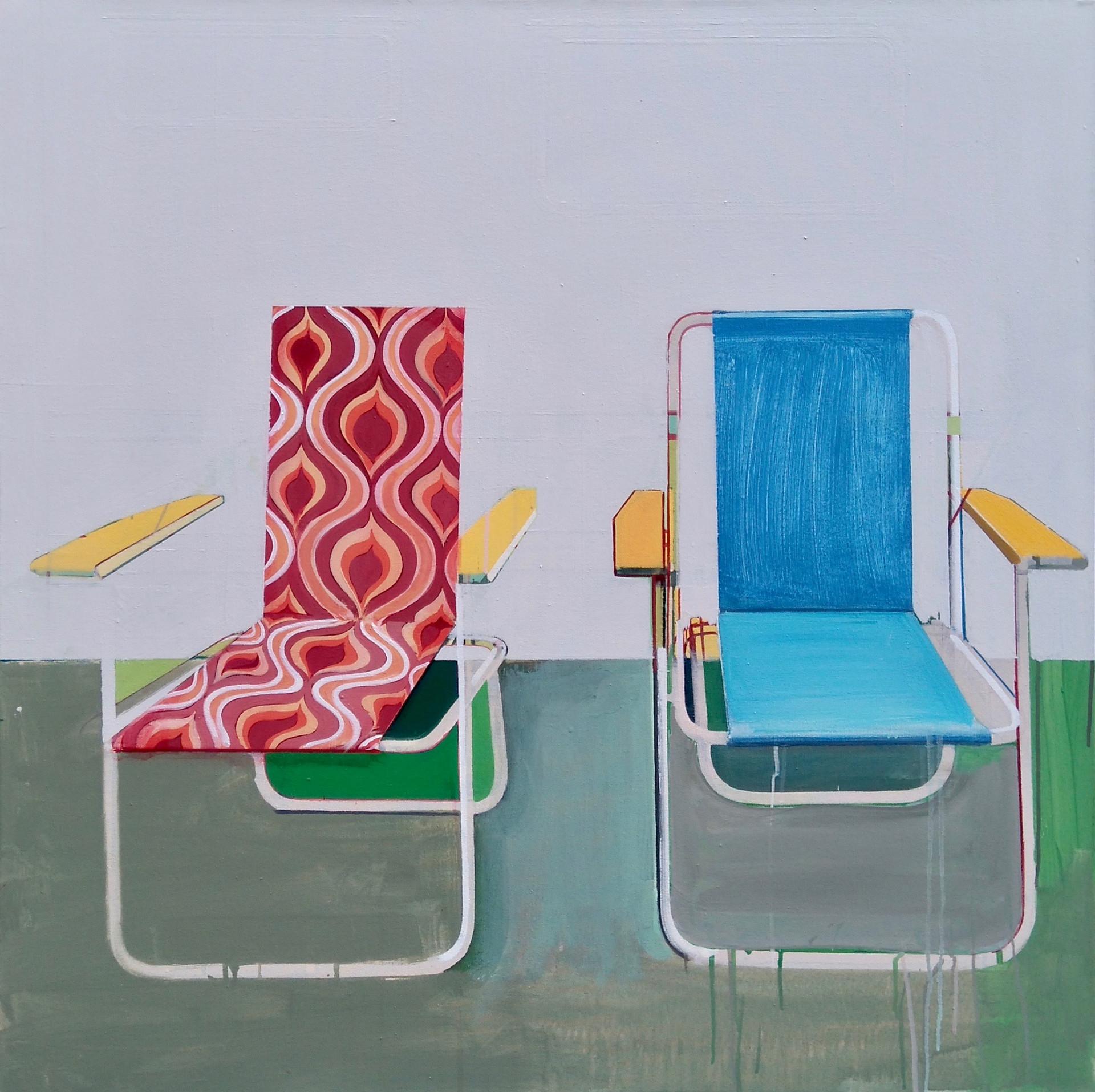 'Deckchairs 3' 100x100cm