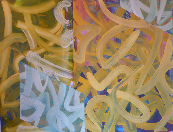 Yellow and White Lines 160x120cm