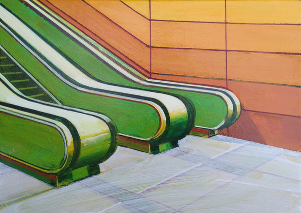 'Green Escalators' 38x30cm