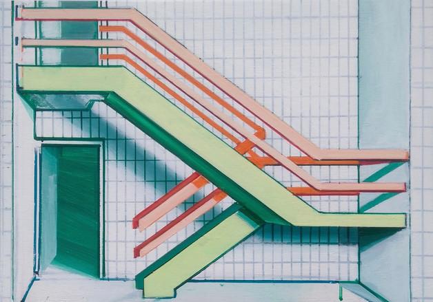 'Green Stairway' 30x21cm