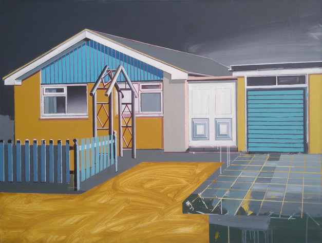 Ochre and Blue Bungalow 125x100cm
