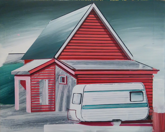Red House with Caravan 38x30cm