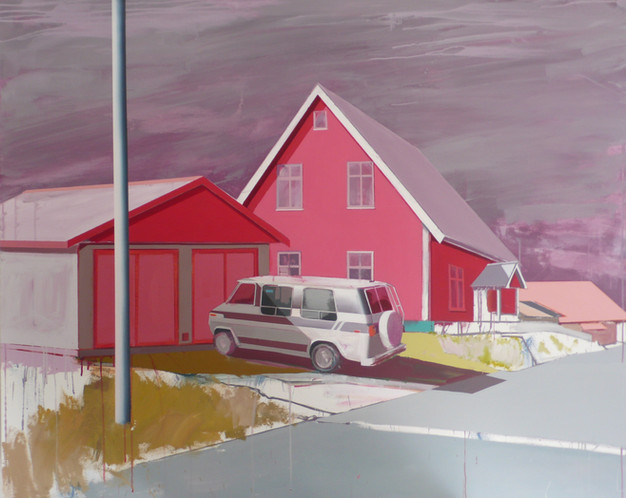 House with Campervan 165x135cm