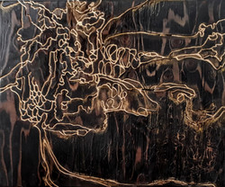 MIXED MEDIA ON CARVED WOOD PANEL
