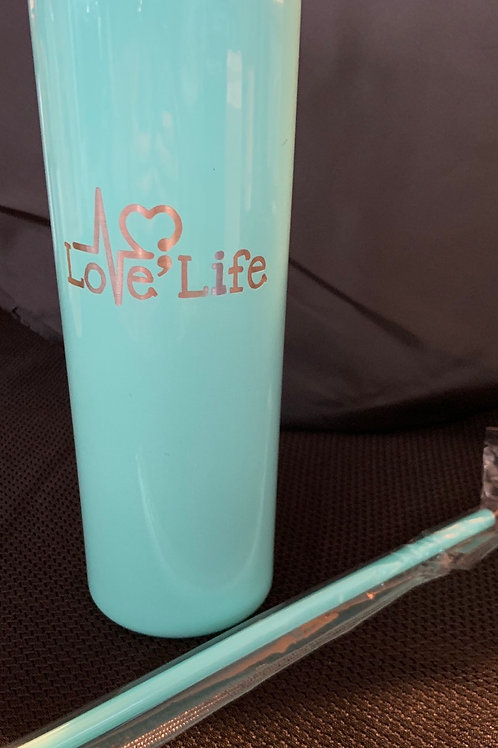20 oz Skinny Tumbler with matching straw in Teal