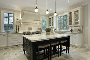 Kitchen in modern home with granite coun