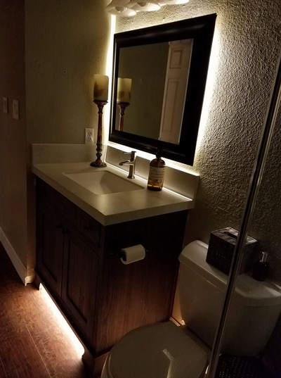 Vanity accent lighting, guest bathroom