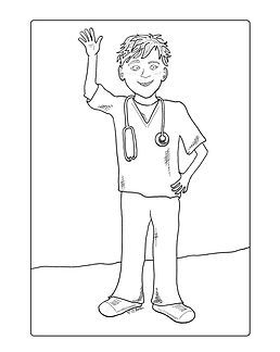 Hey kids! Do you want to be a doctor when you grow up? This coloring page of a kid in doctor scrubs is just for you.