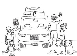 Who's hitting the highway for a summer roadtrip? This idyllic coloring page features a family all packed up and ready for adventure. But did they remember to shut the garage door? :)