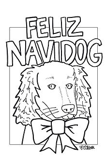 Even the four-legged friend gets in on the holiday fun with this Christmas coloring page.