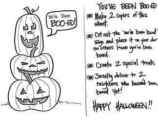 "Want a fun and easy way to share some Halloween fun in your neighborhood? Print this ""You've Been Boo-ed!"" sheet for everything you need."