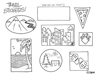 Two pages! Page one is the suitcase you'll take along for Spring Break; page two is a collection of travel stickers to celebrate where you're headed. Color them, cut them out, then paste them to the suitcase. Bon voyage!