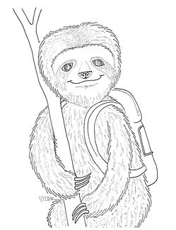 Sloths: so strange! So endearing! So slowwwww. All I know is that this back-to-school sloth had better get a jump on heading to the bus stop.