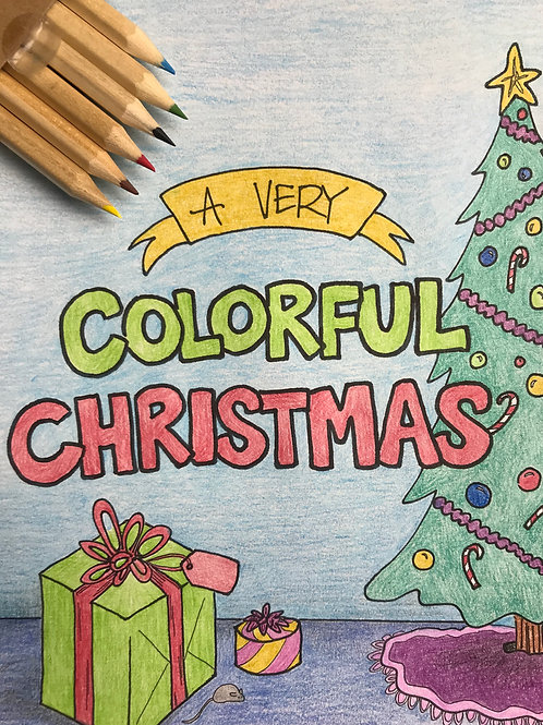 Christmas Mini Coloring Book + Colored Pencil Pack