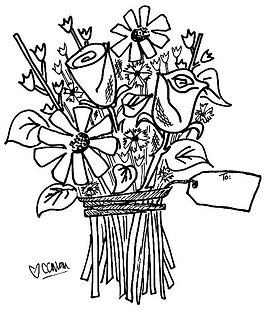 Brighten someone's day! This hand-drawn floral bouquet can be given for any occasion. Just personalize the tag.
