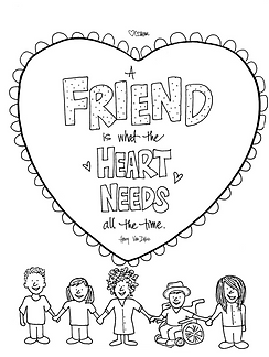 """A friend is what the heart needs all the time."" -Henry Van Dyke illustrated Valentine's quote. The perfect sentiment to print, color, and mail to a friend. Happy Valentine's Day!"