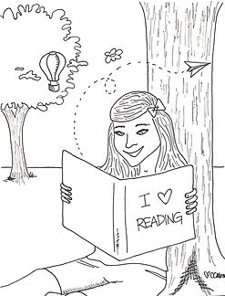 """""""Books are a uniquely portable magic."""" ~Stephen King. Download this reading coloring page for your little bookworm to color."""