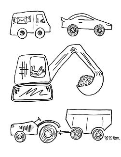An assortment of vroomin' vehicles for your little artist who's crazy about things that go! Digger, race car, tractor & trailer, even a postal truck. Off you go!