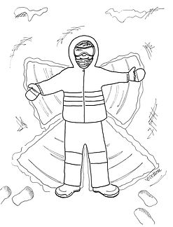 Perhaps this snow angel coloring page will provide a nice indoor activity for you and your little artists on your next snow day. Stay warm!