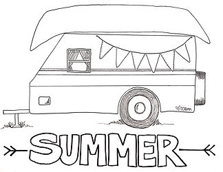 This free printable coloring page is ready to hit the road in a vintage camper with a canoe on the roof. Looks like summer fun to me!