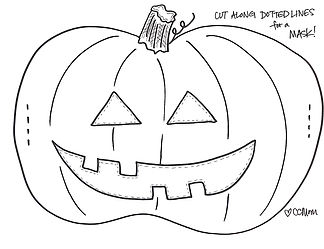 With just a few snips, this cute pumpkin coloring page can be turned into a pumpkin mask! Just slip some strings through the edges to secure it on your face. FUN!