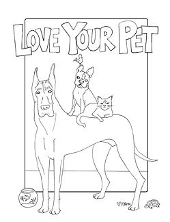 A coloring page to celebrate National Love Your Pet Day! Dogs, cats, fish, turtles, birds... having a pet is a special privilege. Go pets!