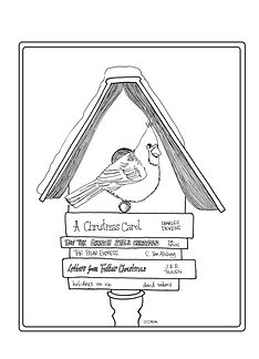 A cardinal perches on a birdhouse-meets-Little-Free-Library in this endearing holiday drawing by the Custom Coloring Mom.