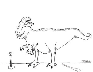 If you don't have a t-ball-playing T-Rex in your coloring repertoire, you need this one. Rawr!