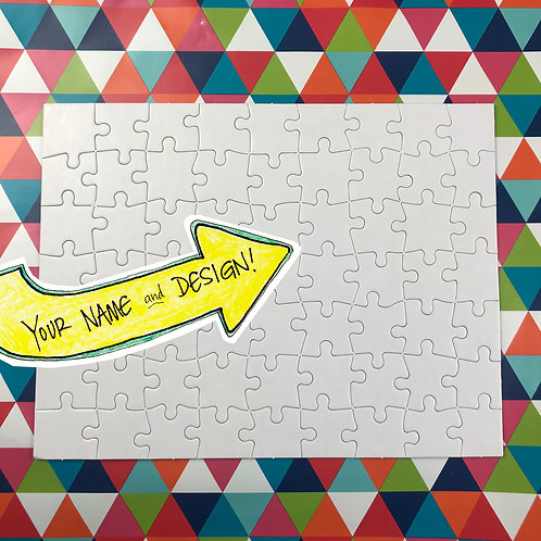 Ready-to-Color Custom Puzzle: your design, drawn by me | 63 pcs