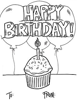 This easy-to-color, easy-to-personalize Happy Birthday coloring page is the perfect little way to tell someone you're thinking of them on their special day. Better than a card!