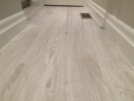Bathroom With Porcelain Plank Floor Tile